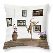 Statue Of A Dancing Girl On Ice 2 Throw Pillow