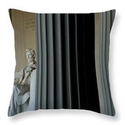 Statue Of Abraham Lincoln Is Seen Throw Pillow