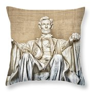 Statue Of Abraham Lincoln - Lincoln Memorial #3 Throw Pillow