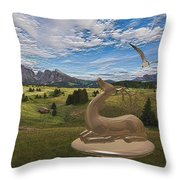 Statue Of Deer 3 Throw Pillow