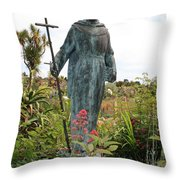 Statue Of Father Serra At Carmel Mission Throw Pillow