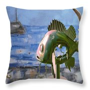 Statue Of Fish 113 Throw Pillow