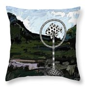 Statue Of Fish In The Field  Throw Pillow