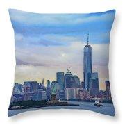 Statue Of Liberty And Manhattan Throw Pillow