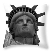 Statue Of Liberty B/w Throw Pillow by Lorena Mahoney