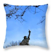 Statue Of Liberty Back View  Throw Pillow