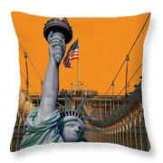 Statue Of Liberty - Brooklyn Bridge Throw Pillow