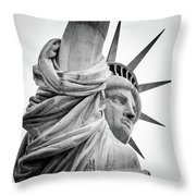 Statue Of Liberty, Lateral Portrait Throw Pillow