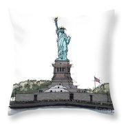 Statue Of Liberty, New York Sketch Throw Pillow