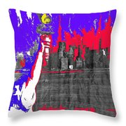 Statue Of Liberty Nyc Skyline 1967-2016 Throw Pillow