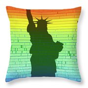 Statue Of Liberty Rainbow Throw Pillow