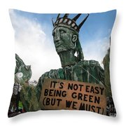 Statue Of Liberty Street Puppet At Political Demonstration Throw Pillow
