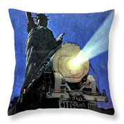 Statue Of Liberty With Steam Train, We Shall Not Fail Throw Pillow