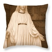 Statue Of Mary At Sacred Heart In Tampa Throw Pillow