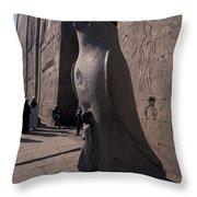 Statue Of The Bird God, Horus Throw Pillow