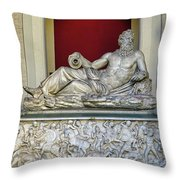 Statue Of The Greek River God Tiberinus At The Vatican Museum Throw Pillow