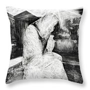 Statue Of Weeping Woman, Lafayette Cemetery, New Orleans In Black And White Sketch Throw Pillow