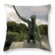 Statue Of Woman Crawling On Marble Street Throw Pillow