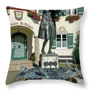 Statue Of Young Wolfgang Amadeus Mozart In St. Gilgen, Austria Throw Pillow