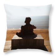 Statue On The Beach Throw Pillow