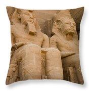 Statues At Abu Simbel Throw Pillow
