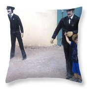 Statues Depicting Shooters In O.k. Corral Gunfight Tombstone Arizona 2004 Throw Pillow