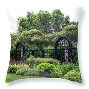 Statues In A Garden Throw Pillow