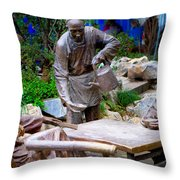 Statues Of After Noon Tea Throw Pillow