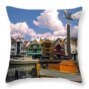 Stavanger Harbor Throw Pillow