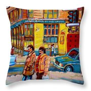 Ste. Catherine Street Montreal Throw Pillow