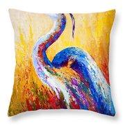 Steady Gaze - Great Blue Heron Throw Pillow