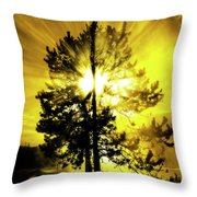 Steam And Tree With Sunlight Rays Blue Sky Throw Pillow