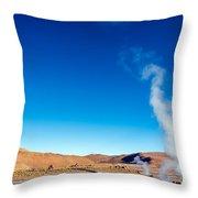 Steam At El Tatio Geysers Throw Pillow