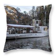 Steam Boat On Loch Katrine Throw Pillow