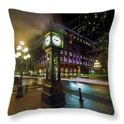 Steam Clock In Gastown Vancouver Bc At Night Throw Pillow