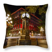 Steam Clock In Historic Gastown Vancouver Bc Throw Pillow