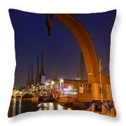 Steam Crane And Cranes, Bristol Harbour Throw Pillow