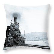Steam Engine Throw Pillow by Michael Chatt