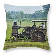 Steam Engine Plowing Throw Pillow