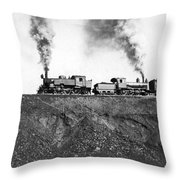 Steam Engines Pulling A Train Throw Pillow