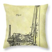 Steam Powered Oil Well Patent Throw Pillow