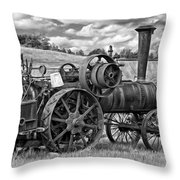 Steam Powered Tractor - Paint Bw Throw Pillow