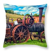Steam Powered Tractor - Paint Throw Pillow