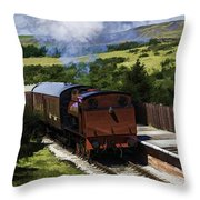 Steam Train 2 Oil Painting Effect Throw Pillow