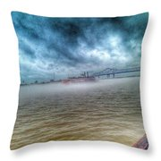 Steamboat In The Fog Throw Pillow