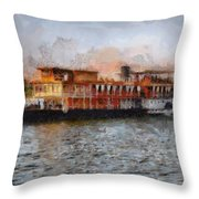 Steamboat On The Nile Throw Pillow