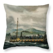 Steamboat Travel On The Hudson River Throw Pillow