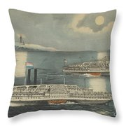 Steamboats Passing At Midnight On Long Island Sound Throw Pillow