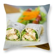 Steamed Salmon And Salad Wrap Throw Pillow