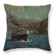 Steamer Leaving Avalon. Catalina Island Throw Pillow